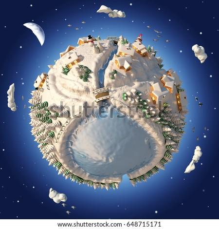 Cartoon 3D Planet Winter #648715171