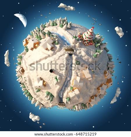 Cartoon 3D Planet Winter #648715219