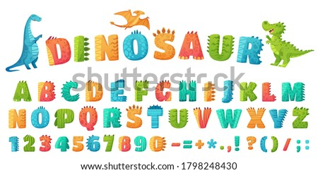 Cartoon dino font. Dinosaur alphabet letters and numbers, funny dinos letter signs for nursery or kindergarten kids  illustration set. Alphabet dinosaur, abc kids letter typography