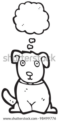 cartoon dog with thought bubble