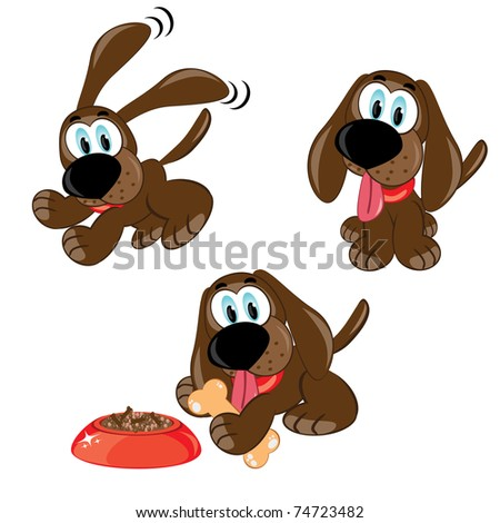 Cartoon dogs set.  Raster version. Vector version is in my gallery. - stock photo