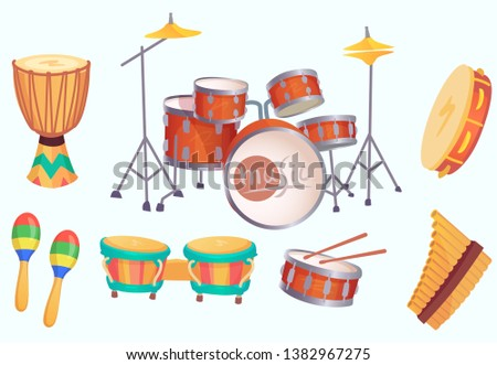 Cartoon drums. Musical drum instruments. Music instrument, philharmonic orchestra classic drumming instrumentation. Acoustic bongo, maracas and tambourine  isolated icons collection
