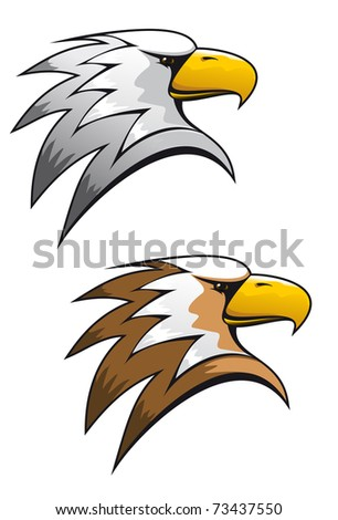 Cartoon eagle symbol isolated on white for tattoo or another design - also as emblem or logo template. Vector version also available in gallery