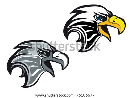Cartoon eagle symbol isolated on white for tattoo or another design. Vector version also available in gallery
