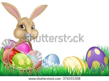 Cartoon Easter bunny with a basket full of chocolate Easter eggs in a field #376355308