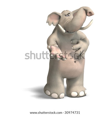 cartoon elephant invites you to his party. With Clipping Path over whire