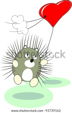Cartoon enamored baby hedgehog toy with red heart balloon in love - isolated illustration,  white background