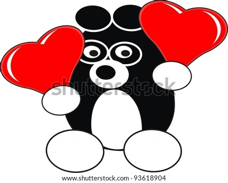 Cartoon enamored baby panda toy with red heart balloons in love - isolated illustration,  white background