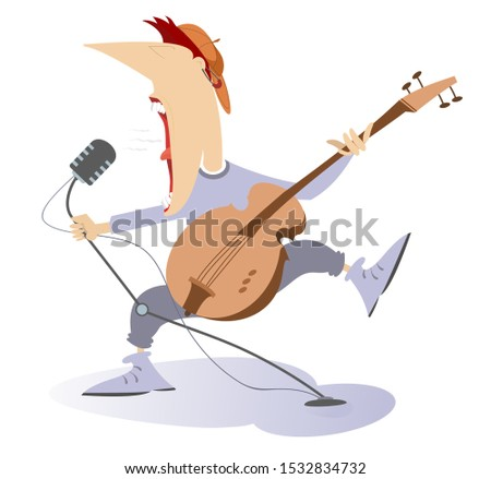 Cartoon expressive guitarist illustration. Guitarist is playing music and singing with the great inspiration isolated on white