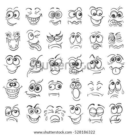 Cartoon face Emotion set. Various facial expressions in doodle style isolated on white.  #528186322
