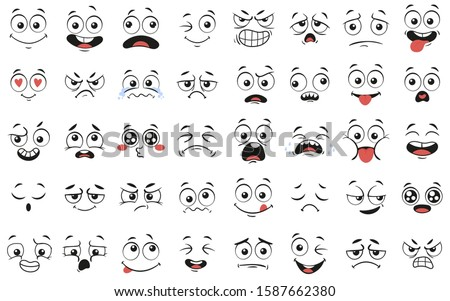 Cartoon faces. Expressive eyes and mouth, smiling, crying and surprised character face expressions. Caricature comic emotions or emoticon doodle. Isolated  illustration icons set