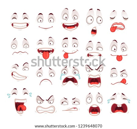 Cartoon faces. Happy excited smile laughing unhappy sad cry mouth and crazy sick scared face expressions character symbol. Expressive caricatures comic doodle tongue people  isolated icon set