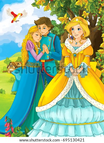 cartoon fairy tale scene with beautiful girl - standing in front of young loving couple