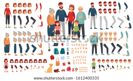 Cartoon family creation kit. Parents, children and grandparents characters constructor. Big family, mascot emotions, body gesture and hairstyle. Isolated  illustration symbols set