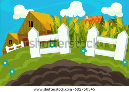 Cartoon farm scene - background for different usage - for game or book - illustration for children