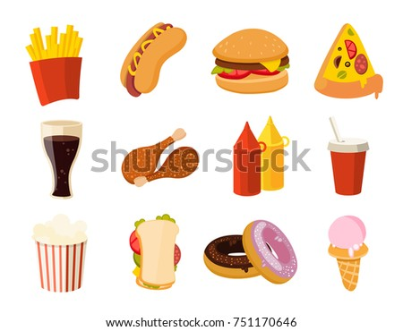 Cartoon fast food, burger, drink, chicken tacos, salad, hotdog set. Collection of fast food pizza and hamburger, illustration of food sandwich and donut