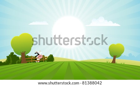 Cartoon Field With Dairy Cow/ Illustration of a cartoon dairy cow inside spring or summer landscape