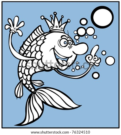 Cartoon fish with bubbles in outline.