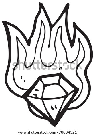 cartoon flaming diamond