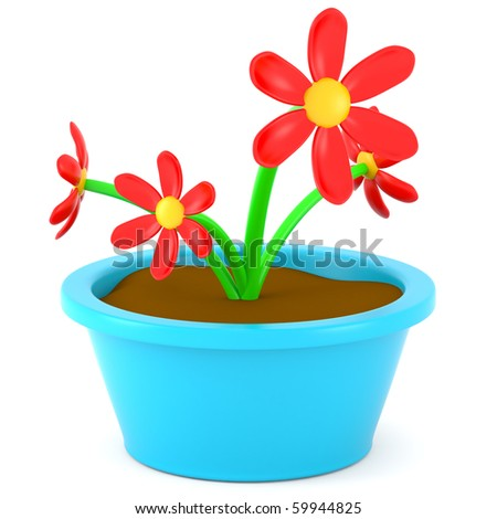 cartoon images of flowers. stock photo : Cartoon flowers in pot