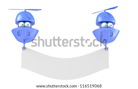 Cartoon flying characters with blank banner isolated on white background