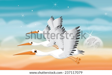 Cartoon Flying Cranes. three Cute cranes in flight with their wing spread, the background is of a evening or morning sky.
