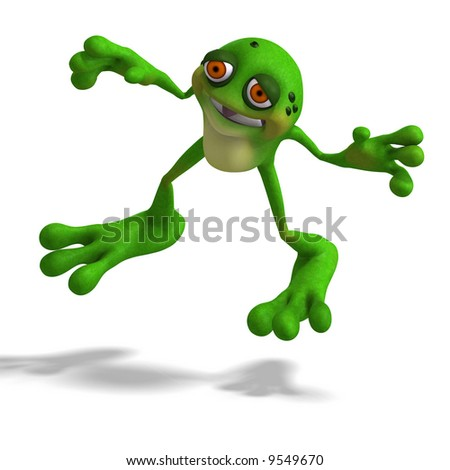 funny cartoon faces. Cartoon Frog With Funny Face