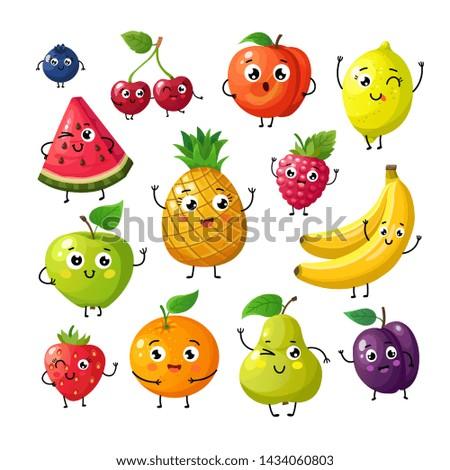 Cartoon funny fruits. Happy kiwi banana raspberry orange cherry with face. Summer fruit and berry characters isolated on white. Fruit kiwi and banana, orange and strawberry illustration