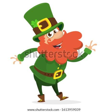 Cartoon funny Leprechaun dancing. Illustration for St. Patrick's Day