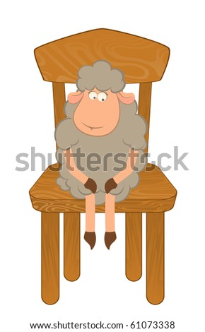 Cartoon funny sad sheep sits on a chair. Vector illustration