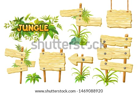 Cartoon game panels in jungle style on white background. Isolated wooden gui elements with tropical leaves and boards. Illustration on white background.