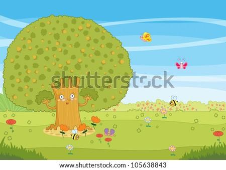 Oak Tree Cartoon Cartoon Garden With Oak Tree