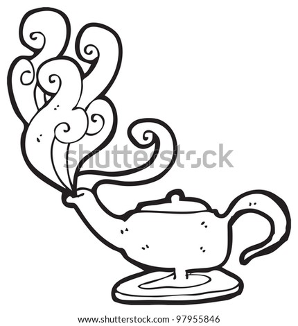 Cartoon genie in lamp cartoon stock photo 97955846 for Genie lamp coloring page