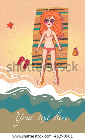 stock photo : Cartoon girl on the beach