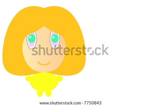 cartoon girl hair. stock photo : cartoon girl