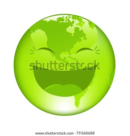 Cartoon Globus, Isolated On White Background