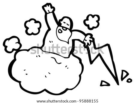 Cloud Cartoon Drawing Cartoon God on Cloud