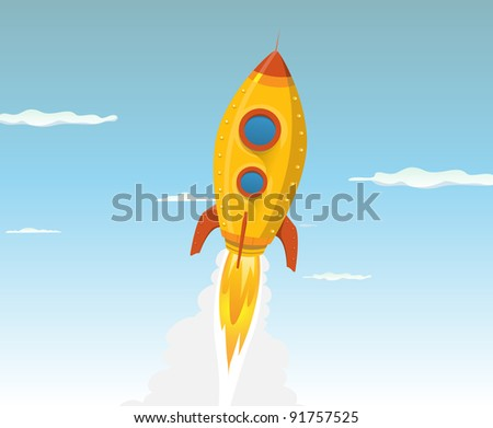 Cartoon Gold Space Ship/ Illustration of a cartoon rocket ship or UFO flying in the sky and going outer-space