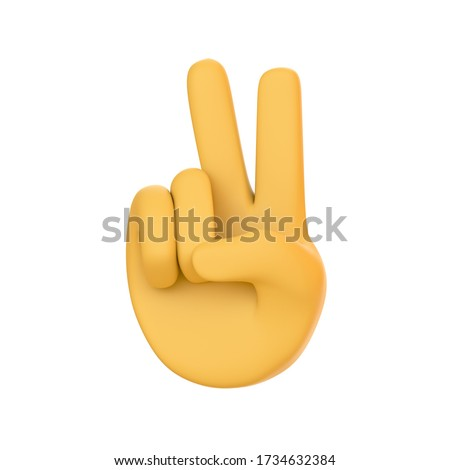 Cartoon graphic yellow human hand animation. Showing two fingers. Love and peace. Isolated on white background. peace gesture hand icon. emoji. emoticon. Isolated 3d render illustration