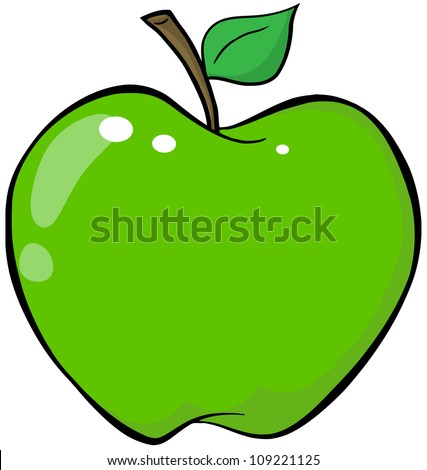 Cartoon Green Apple. Raster Illustration.Vector version also available in portfolio