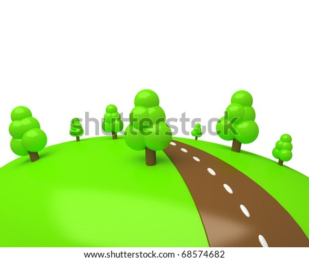cartoon green meadow with some trees and chocolate road isolated on white