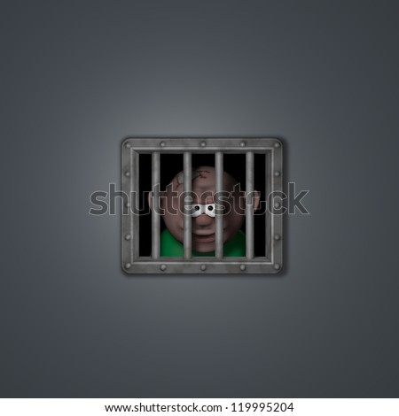 cartoon guy behind riveted steel prison window - 3d illustration