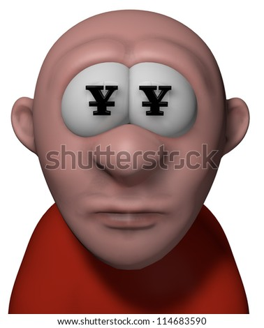 cartoon guy with yen symbols in his eyes - 3d illustration