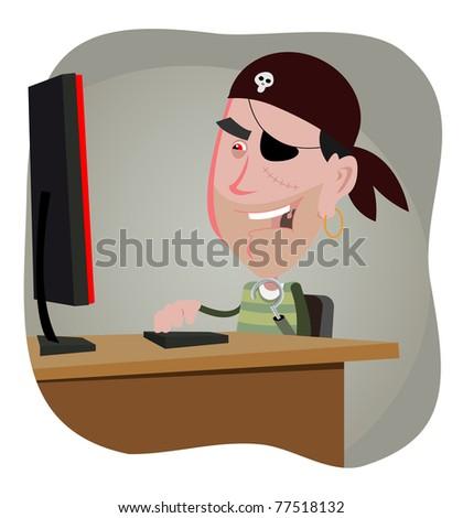 Cartoon hacker illustration of a cartoon computer pirate hacker