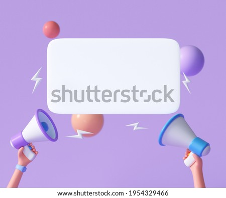 Cartoon hand holding megaphone with speech bubble on purple background with copy space. 3d render illustration