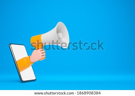Cartoon  hand holding yellow loudspeaker and show through smartphone screen over blue background. Online internet advertising announcement concept. 3d render illustration