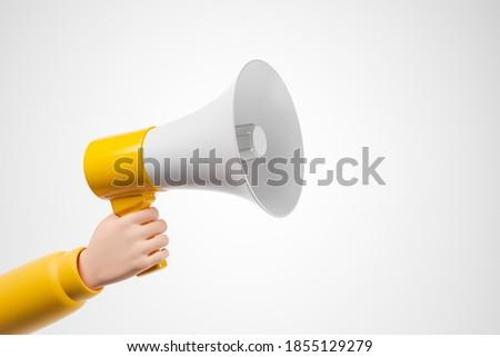 Cartoon hand in yellow jacket holding megaphone loudspeaker over white background. 3d render illustration.