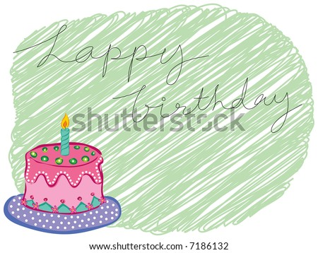 birthday cake greetings. stock photo : cartoon happy birthday cake greeting (raster)