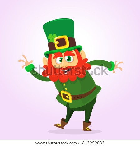 Cartoon happy leprechaun waving hand. St. Patrick design