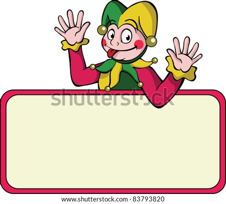 Cartoon harlequin waving above a bulletin board.